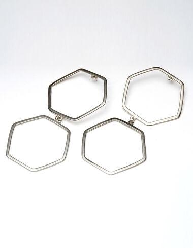Double hexagon silver earrings - Silver Collection - Nícoli