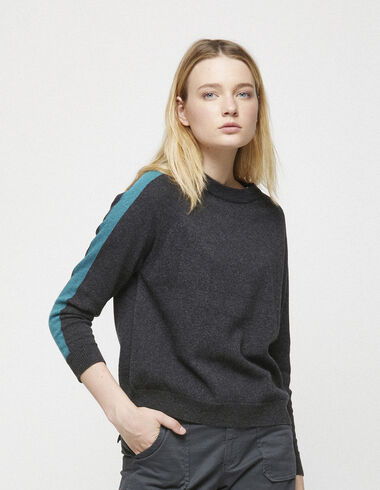 Pull anthracite rayures vertes - Voir tout > - Nícoli