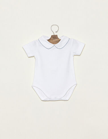 Light blue Peter Pan collar bodysuit with topstitching - View all > - Nícoli