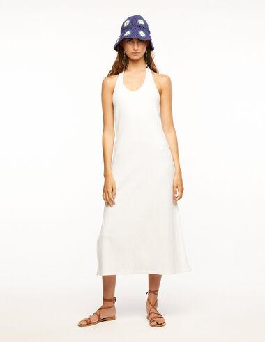 Vestido lazo espalda canalé blanco - Ropa - Nícoli
