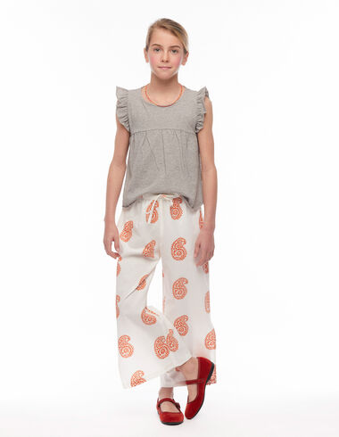 Orange large scale paisley trousers slits - Trousers - Nícoli