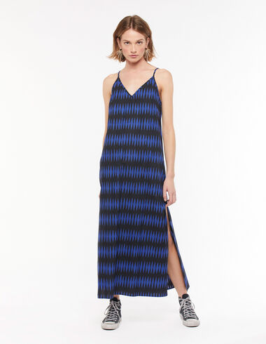 Blue diamonds long V-neck dress - Dresses - Nícoli