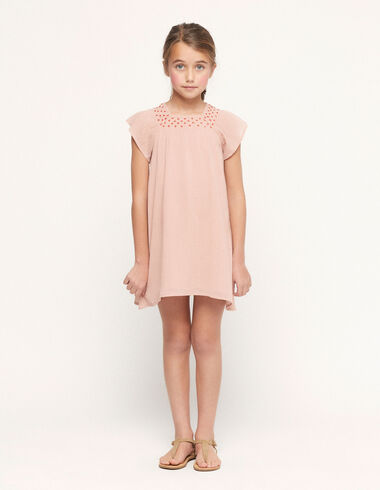 Strawberry dress with orange topstitching - Spring Favourite Selection - Nícoli