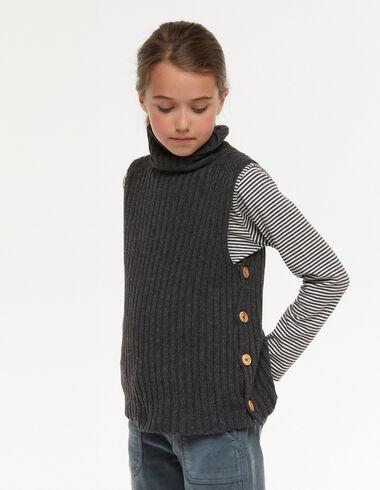 Chaleco cuello vuelto botones gris - Chalecos - Nícoli