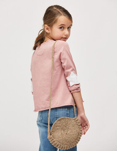 Girl's strawberry top with elbow patches - Girl - Nícoli