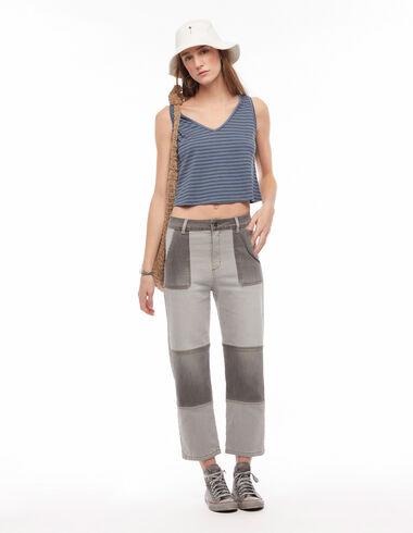 Two-tone grey boyfriend trousers - Denim - Nícoli