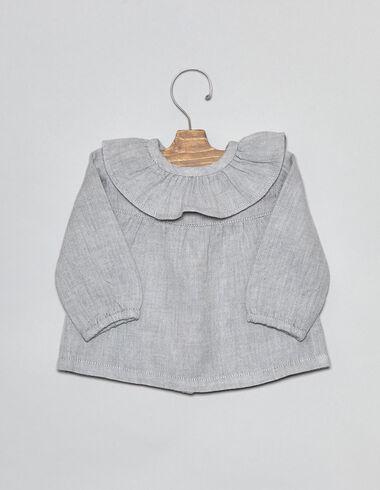 Blue herringbone ruffle baby blouse - Shirts - Nícoli