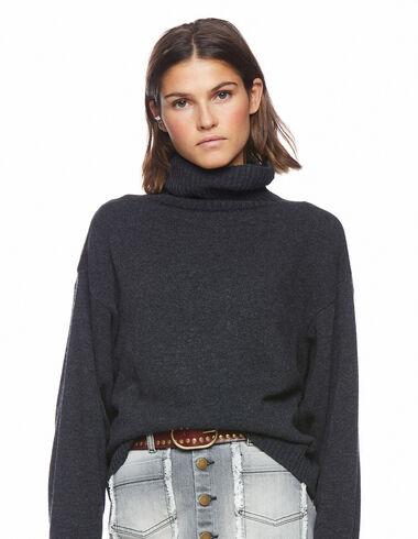 Anthracite turtleneck jumper - Long Velvet Skirt - Nícoli