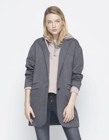 Blazer oversize gris à chevrons - Blazers - Nícoli