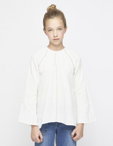 Berry blouse with topstitching - Shirts - Nícoli