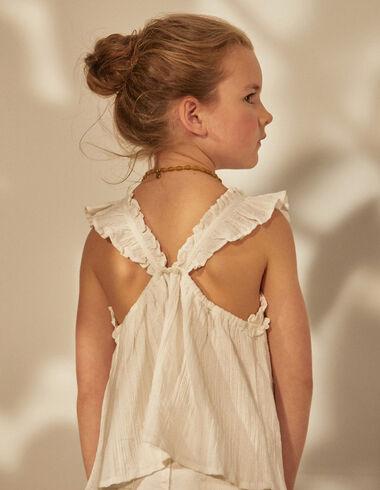 Girl's white striped criss cross back blouse - Shirts - Nícoli