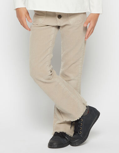 Girl's beige corduroy flared trousers - Pants - Nícoli