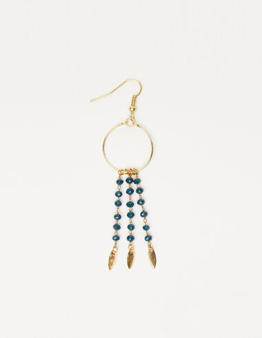 Hoop earrings in gold tone leaves and blue beads - View all > - Nícoli