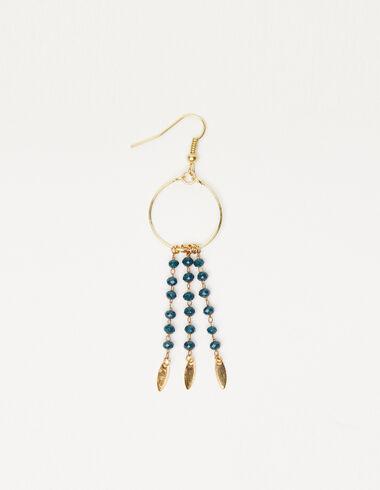 Boucle d'oreilles anneaux feuilles bleue et dorée - Voir tout > - Nícoli