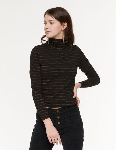 Black ochre-stripe turtleneck T-shirt - Trendy stripes - Nícoli