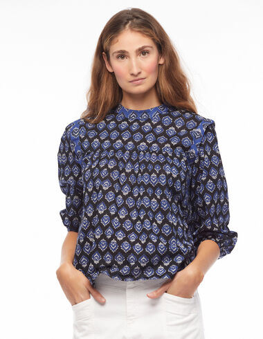 Anthracite buti grandad collar shirt - Blouses and Tops - Nícoli