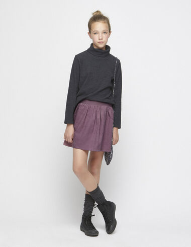 Berry corduroy skirt with topstitching - View all > - Nícoli