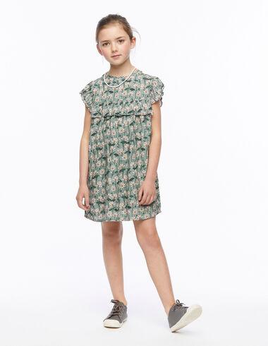 Vestido corte volante print flor verde - New Flower Print - Nícoli