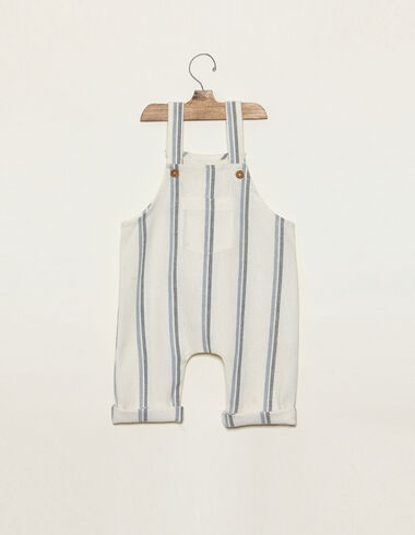 Blue two-tone striped dungarees with pocket - Playsuits & Dungarees - Nícoli