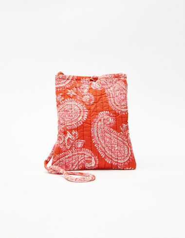 Red paisley crossbody bag - Pink & White - Nícoli