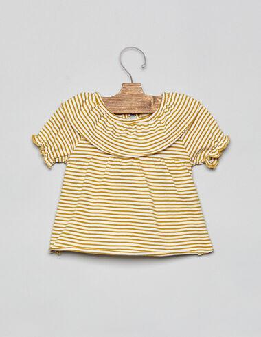 Tee-shirt rayé moutarde grand col bébé - Tee shirts - Nícoli