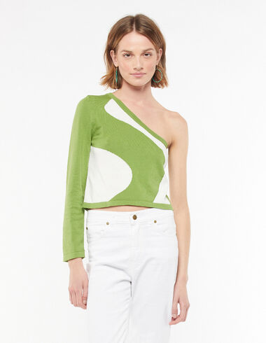 Asymmetric green top waves - Blouses and Tops - Nícoli