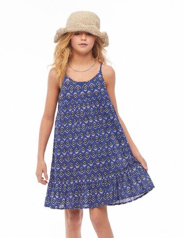Blue buti print shoulder strap dress - View all > - Nícoli