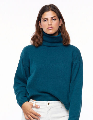 Green turtleneck jumper - Green & Denim - Nícoli