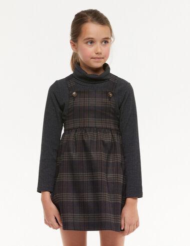 Brown tartan dungaree dress - View all > - Nícoli