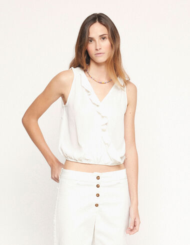 White ruffle crossed top - View all > - Nícoli