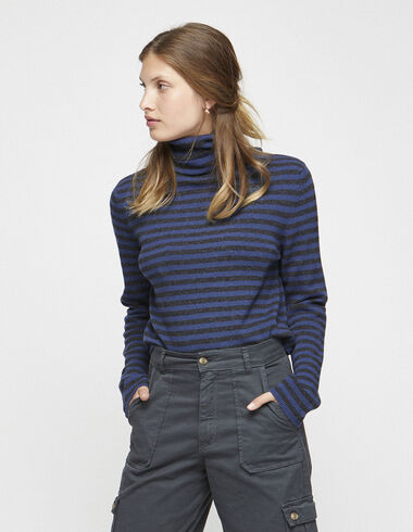 Women´s blue striped turtleneck jumper - View all > - Nícoli