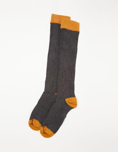 Grey and mustard ribbed socks - View all > - Nícoli