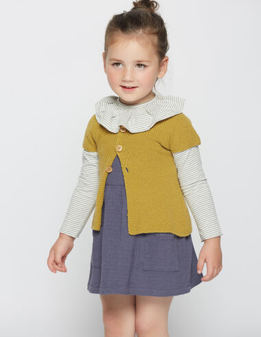 Girl's mustard short-sleeved cardigan - View all > - Nícoli