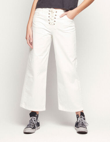 White wide leg lace-up trousers - View all > - Nícoli
