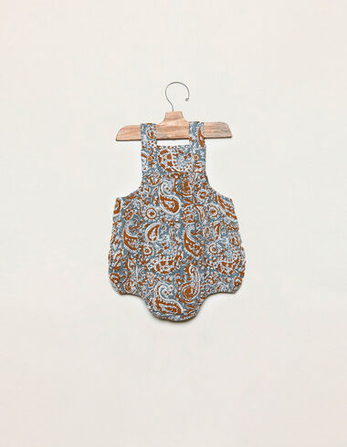 Blue paisley romper with buttons - Playsuits & Dungarees - Nícoli