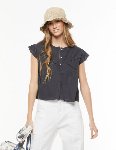 Anthracite lace V-neck shirt - View all > - Nícoli