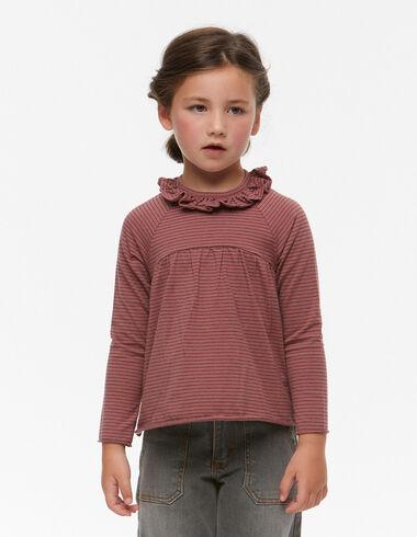 T-shirt volant coupe petite rayure fraise et anthracite - Voit tout > - Nícoli