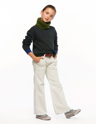 Pantalon wide leg poches côtelé écru - Rainy Days - Nícoli