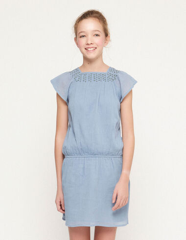 Blue dress with green topstitching - Spring Favourite Selection - Nícoli