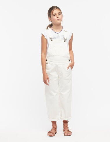 White wide leg dungarees with pocket - View all > - Nícoli