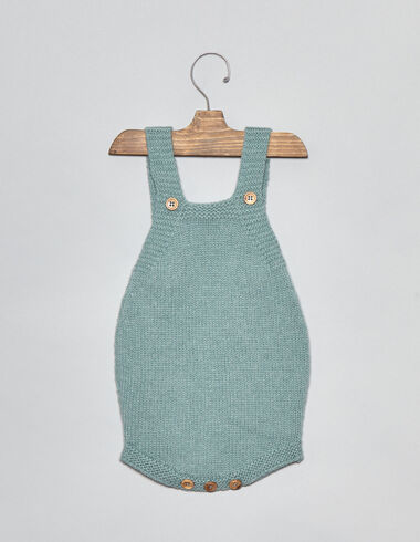 Light green knit baby romper - Playsuits & Dungarees - Nícoli