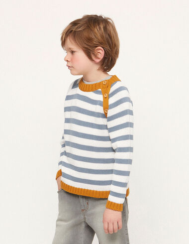 Pull rayé contraste moutarde - Kids jumpers & Sweatshirts - Nícoli