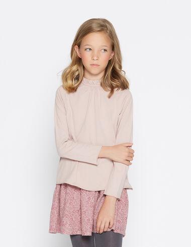 Girl's pink perkins collar top - View all > - Nícoli