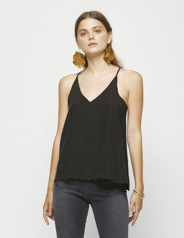 Black jacquard strappy top - Shirts - Nícoli