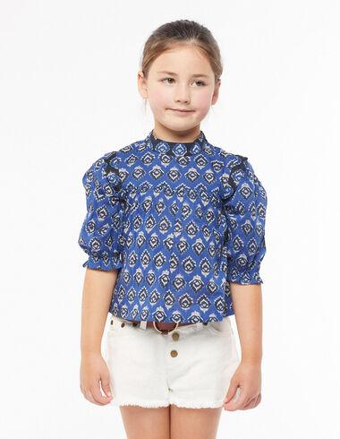 Blue buti grandad collar shirt - View all > - Nícoli