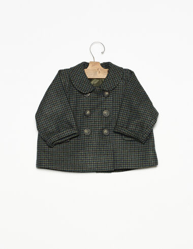 Blue tweed round neck baby coat - View all > - Nícoli