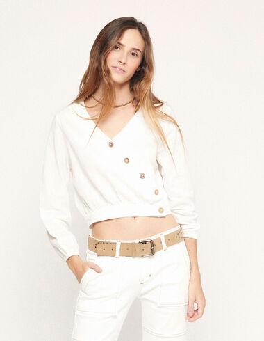 Chemise cache-cœur à boutons blanche - Voir tout > - Nícoli