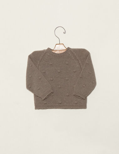 Baby´s taupe jumper with bobble - Jumpers - Nícoli