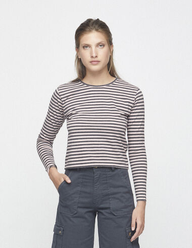 Pink/anthracite striped top - T-shirts - Nícoli