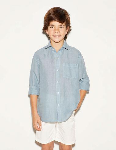 Camisa pico lino azul - Camisas - Nícoli